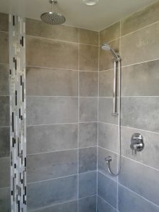 Stone-tiled Shower